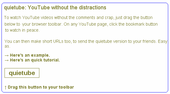 quiettube   QuieTube: Distraction free Youtube Video Watching & Sharing