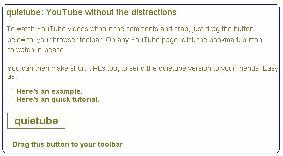 quiettube   QuieTube: Distraction free Youtube Video Watching & Sharing