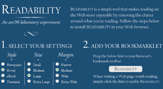 readability   Readability: Turn Webpages Into An Easy To Read Format