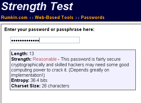 test the strength of your password