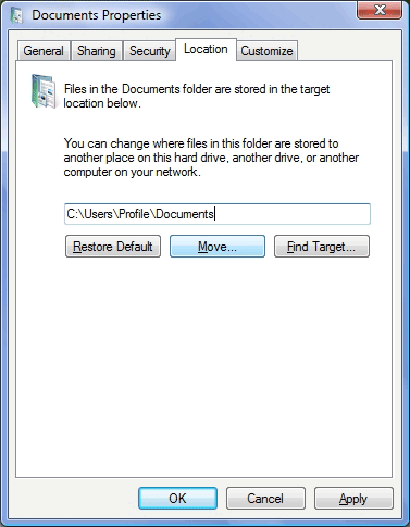 How To Move My Documents Folder To A Different Drive 5 vista location tab
