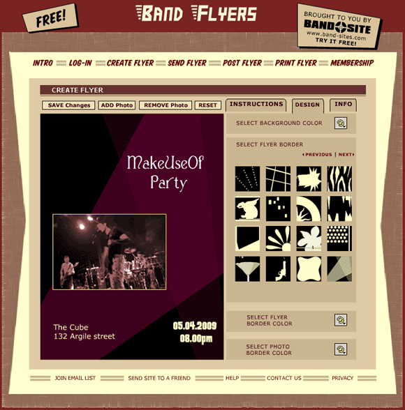 bandflyers   Band Flyers: Create Printable Flyers