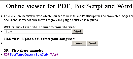 online viewer for pdf postscript and word
