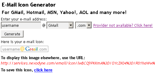 email address to image