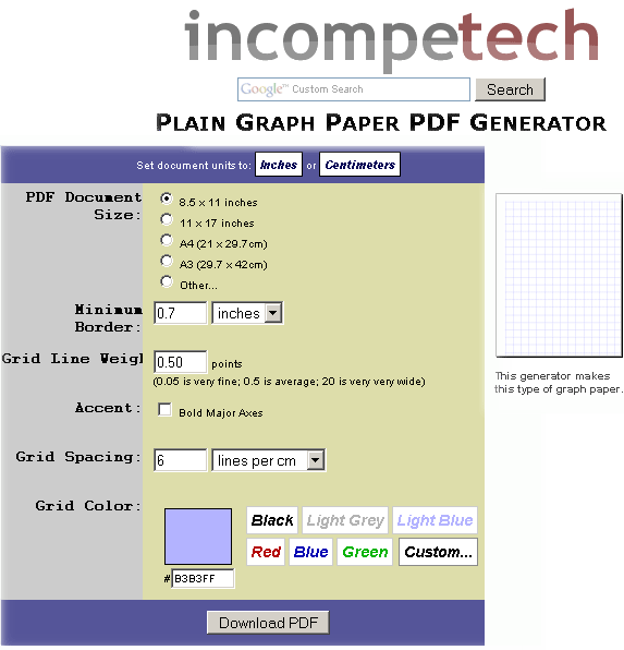 Graphpaper Make Your Own Graph Paper Online