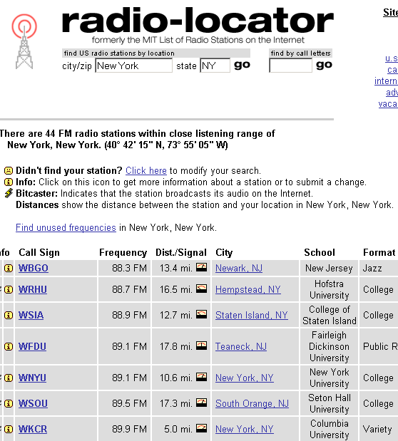 locate radio stations