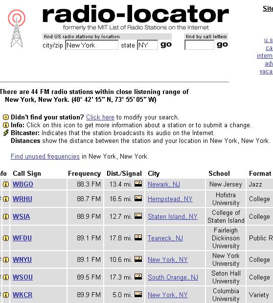 locate radio stations