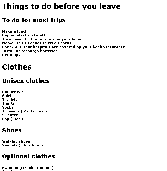 online packing list