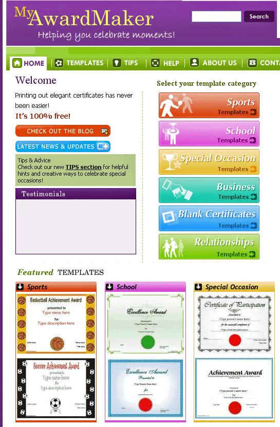 Myawardmaker free custom certificate templates custom certificate templates yadclub Gallery