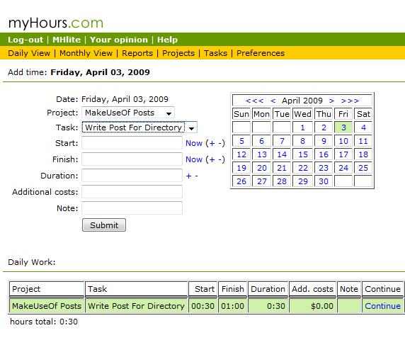 free web based time tracking