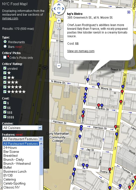nyc restaurants map