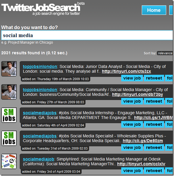 A job search engine for Twitter.