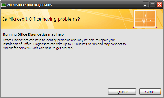 How to Fix Microsoft Office Problems with MS Office Diagnostics 2 first window