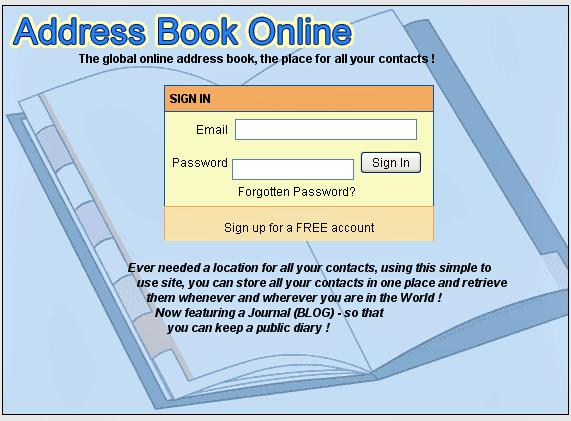 web based address book