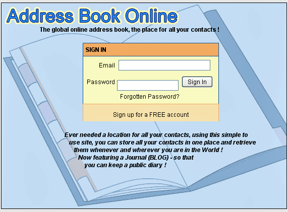 web based address book