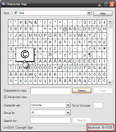 the windows character map accessed via programs accessories system tools can also be used to copy paste the symbols with the huge list of characters