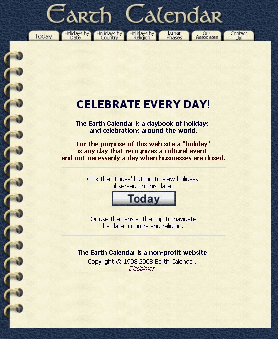 Earthcalendar Calendar Of Holidays And Celebrations Worldwide