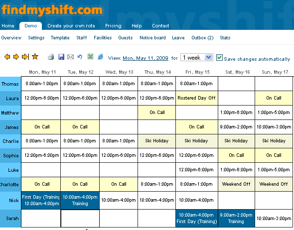web based staff scheduling
