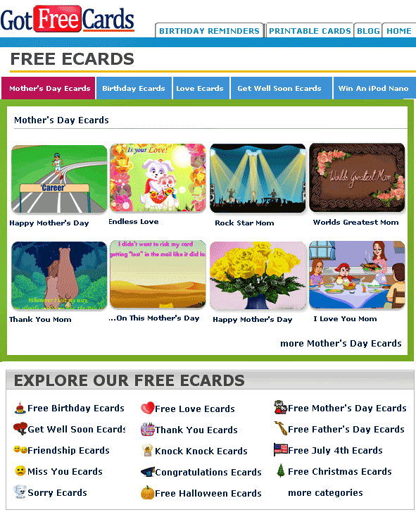 getfreeecards   GotFreeCards: Free Animated Ecards, Event Reminders and Printable Cards