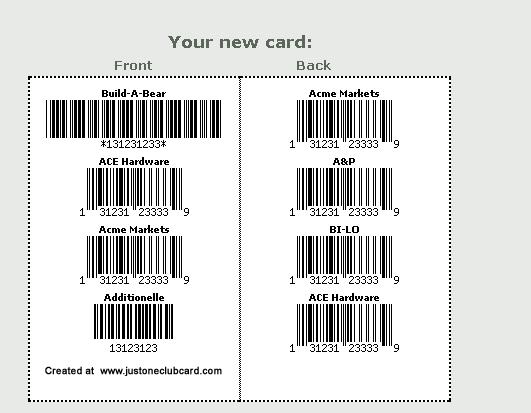 club card barcode