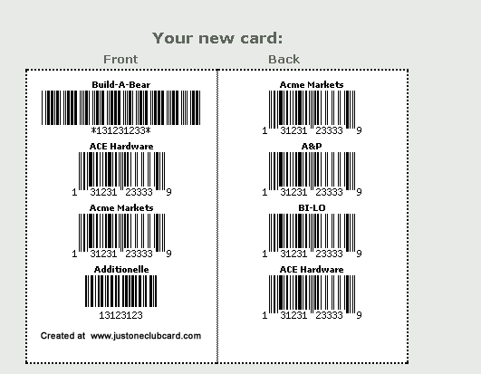 club card barcode