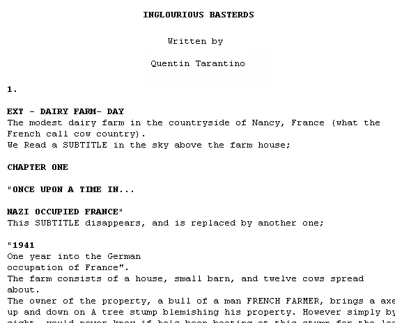 Imsdb read movie scripts online for Free movie script template
