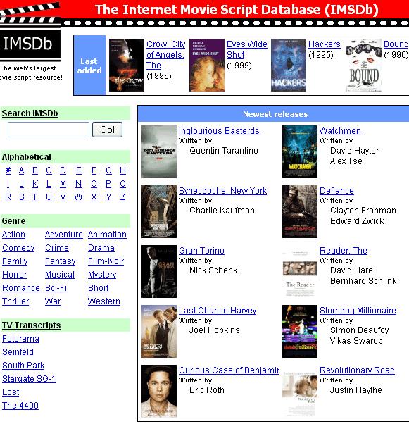 imbsdb   IMSDB: Read Movie Scripts Online