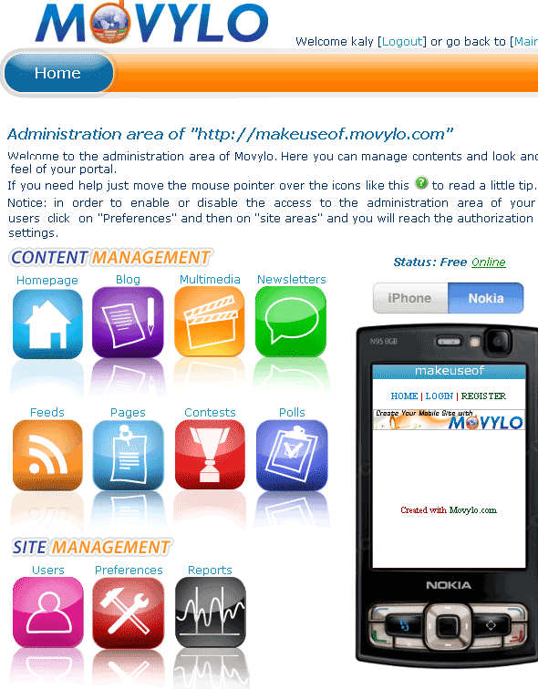 create your own mobile site