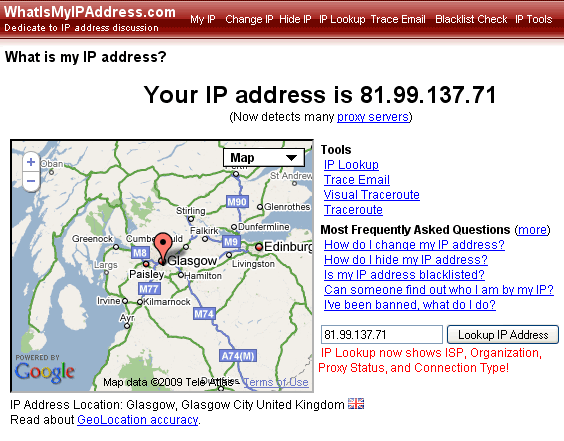linux how to search ip address