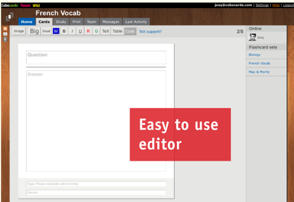 create interactive flash cards