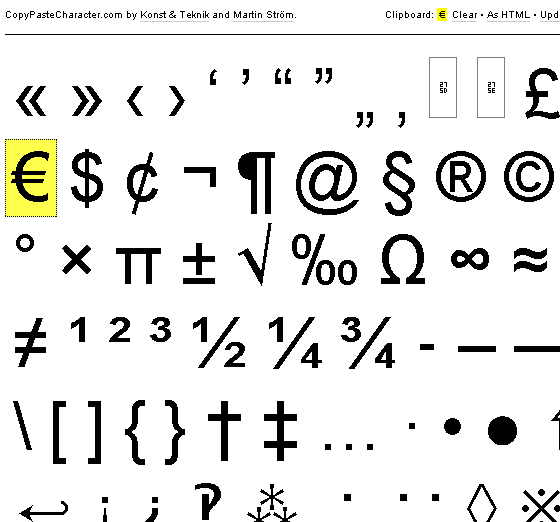 cut and paste special characters