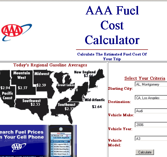 calculate gas cost for trip
