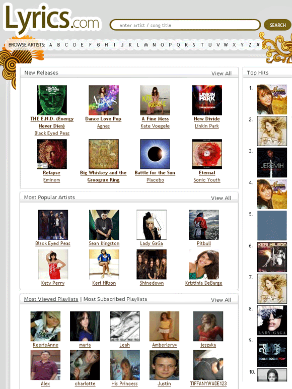 lyrics   Lyrics.com: Song Lyrics With Videos
