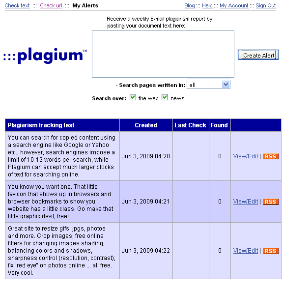 plagium   Plagium: Online Plagiarism Tracker