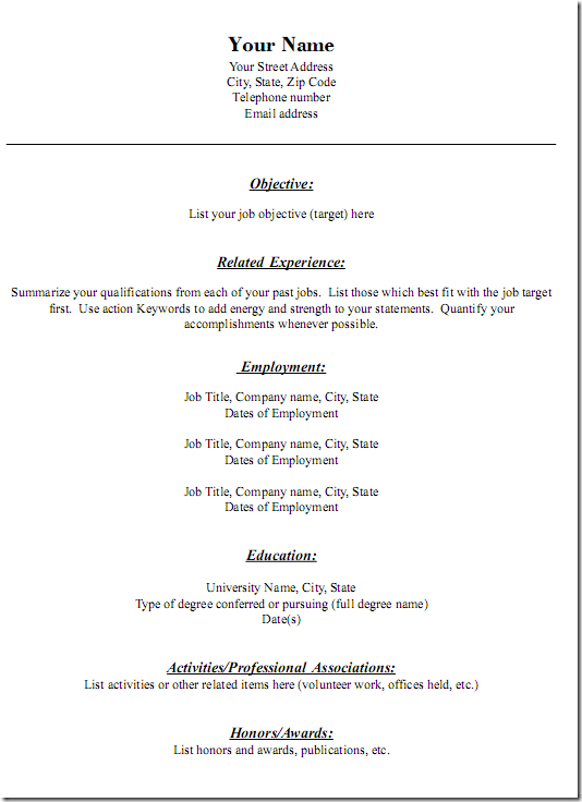 resume3 - Job Resumes Templates