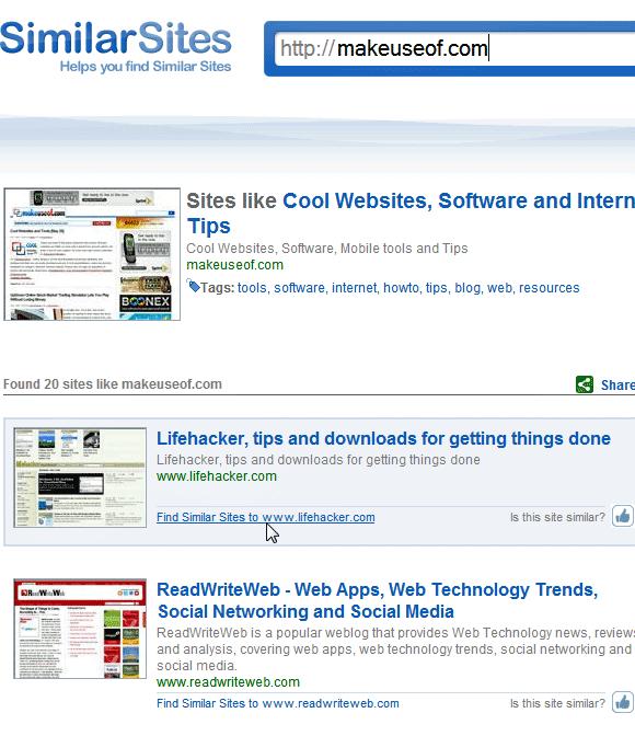 find similar sites