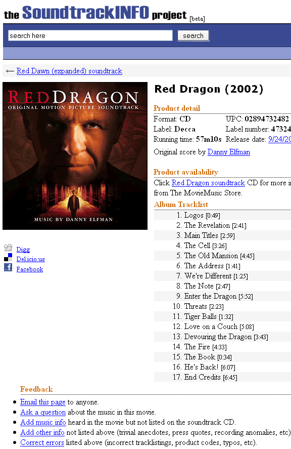 soundtrackiinfo   SoundTrackInfo: Movie Soundtrack Information Database