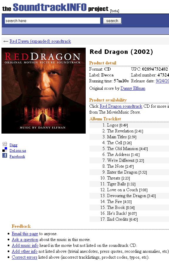 movie soundtrack information