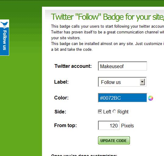 twitter follow badge