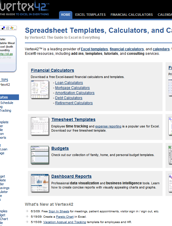 vertex42   Vertex42: Download Free Excel Templates & Calculators