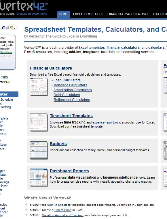 vertex42   Vertex42: Download Free Excel Templates & Calculators