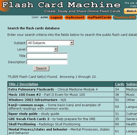study flash cards