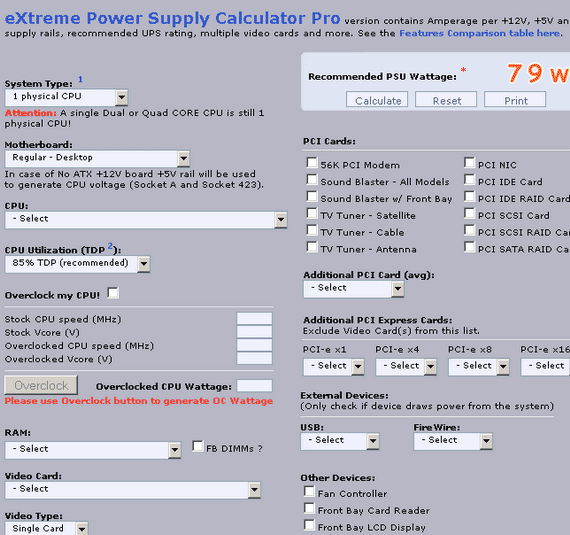 pc power supply calculator