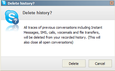Delete History and Cookies in Skype