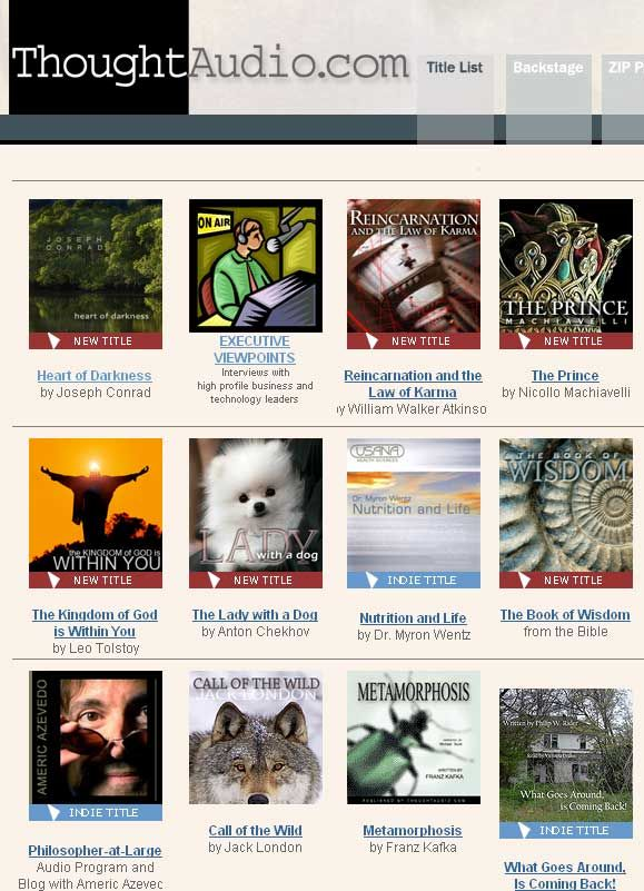 ThoughtAudio   ThoughtAudio: Lots of Free Full Audio Books