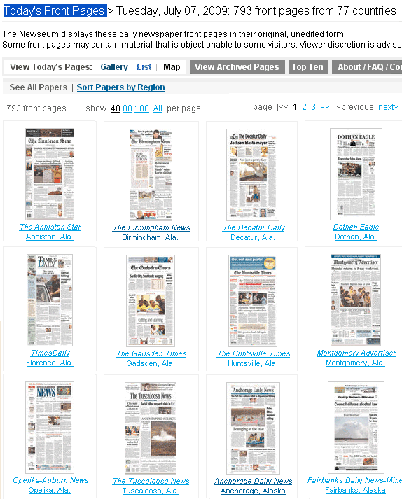 front pages of newspapers around the world