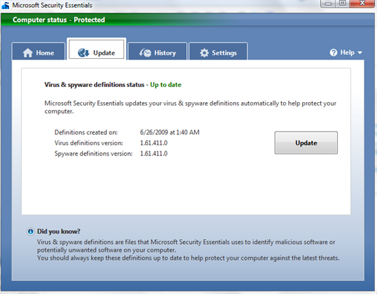 Free Security Suite for Windows: Microsoft Security Essentials image1