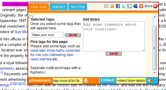 roohit1   RoohIt: Instant Online Web Page Highlighter