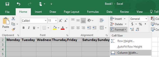 How to Make a Calendar Template in Excel Excel Column Width 670x242