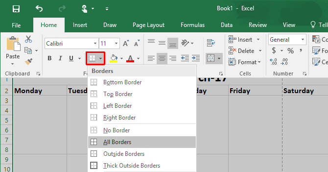 How to Make a Calendar Template in Excel Excel Grid Borders 670x351